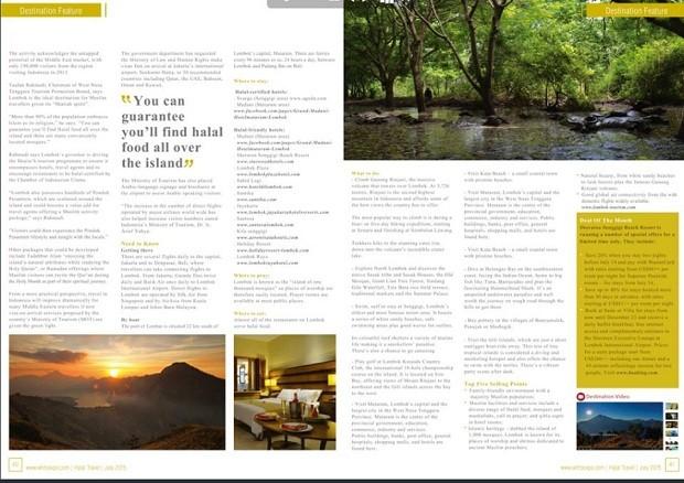 Hebat, Lombok jadi Headline majalah Halal Travel Magazine Arab 1